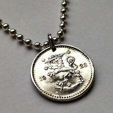 Finland 50 Pennia coin pendant Finnish LION necklace jewelry sword Helsinki