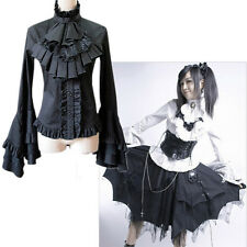 Vintage Women Lolita Black Gothic Long Flare Sleeve Stand Collar Blouse Shirt