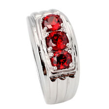 3-stone Garnet Red Cubic Zirconia 925 Sterling Silver Ring Size 6 to 13