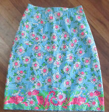Lilly Pulitzer Vintage Tigers & Daisies Skirt Bright Pink