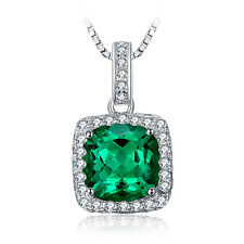 JewelryPalace 3.3ct Nano Russian Emerald Pendant Necklace 925 Sterling Silver