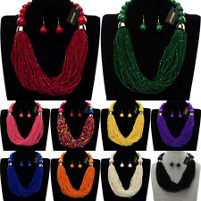 Fashion Jewelry Chain Resin Beads Choker Statement Pendant Bib Necklace Earrings