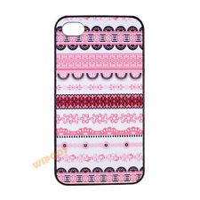 Pink Tribal Aztec Pattern Floral Hard Back Case Cover for Apple iPhone 4 4S 5 5S