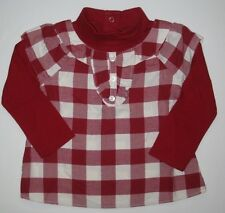 Gymboree Penguin Chalet Top 12-18-24 New Shirt Red Plaid Winter Girl Twins