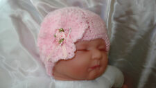 HAND KNITTED BABY BEANIE HAT PINK FLOWER 0-24 MTHS NEW