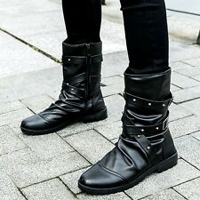 Mens Gothic Boots Punk Rock Round Toe Booties Faux Leather Zipper High Top Shoes