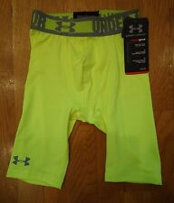 NWT UNDER ARMOUR SONIC COMPRESSION FITTED SHORTS YELLOW BOYS YOUTH XSMALL YXS