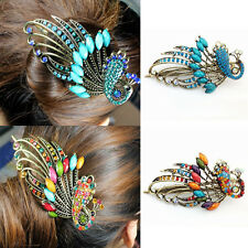 Vintage Peacock Hair Clip Crystal Hairpins Rhinestone Barrette hair Pins Lady