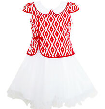 Sunny Fashion 2-in-1 Girls Dress Red Plaid Chinese-style Cheongsam Size 7-14
