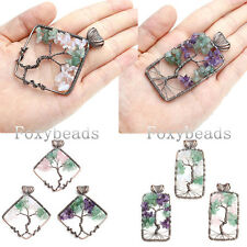 Mixed Natural Gemstone Rhombus Rectangle Tree Of Life Copper Wire Wrap Pendant