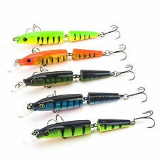 Multi-jointed Minnow Fishing Lures Swimbait Bass Crank Bait Tackle Hook Lot 5pcs