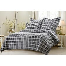 6PC BLACK AND WHITE PLAID BEDDING SET-INCLUDES COMFORTER INSERT AND DUVET COVER