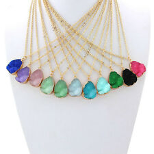Natural Quartz Crystal Necklace Gold Plated Chain Healing Jewelry Pendant Chain