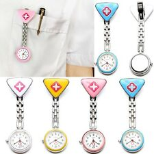 Stainless Pocket Clip Nurse Watches Red Cross Design Round Dial Medical Watch
