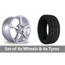 "4 x 17"" BK Racing 300 Silver Alloy Wheel Rims and Tyres -  205/50/17"