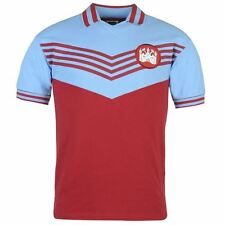 Score Draw Mens Retro West Ham United 1976 Home Shirt Football Collar V Neck Top
