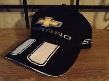 MEN'S CAMARO SS HAT/CAP BLACK/WHITE RALLY STRIPS CHEVY BOWTIE EMBROIDERED NEW