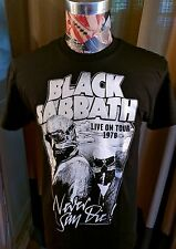 NEW LIVE ON TOUR 1978 NEVER SAY DIE BLACK SABBATH PILOT WHITE LOGO BLACK T SHIRT