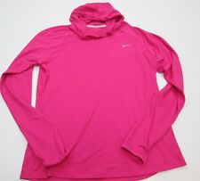 NIKE Womens Size L DRI-FIT Hooded Fit Pull-Over Hot Pink Running Athletic Jacket