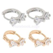 Charming Jewelry Cubic Sweet Bowknot Shape Rhinestone Ear Lobe Stud Earrings