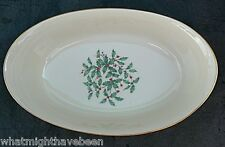 "Lenox Holly Berries 10¼"" OVAL SERVING BOWL Christmas Holiday Gold Trim"