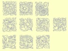 Floral Blocks Redwork & Trapunto Machine Embroidery Designs- Anemone Embroidery