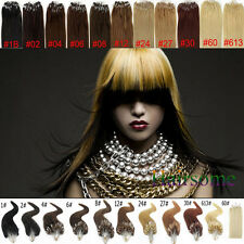 "100/200S Easy Micro Loop Beads 100% Real Human Hair Extensions 18-22"" Long 0.5G"
