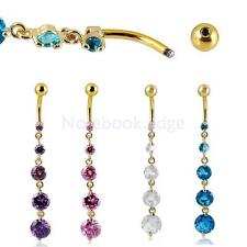 Belly Button Ring Dangly Navel Bar Body Piercing Jewelry with Colorful Crystal