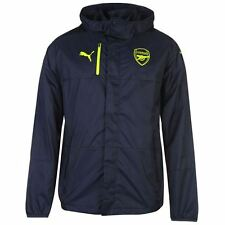Puma Mens Arsenal Rain Jacket Protection Sports Support Full Zip Hooded Top