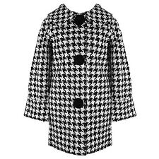 Hell Bunny Hipster White Houndstooth Vintage 60s Crombie Swagger Winter Coat UK