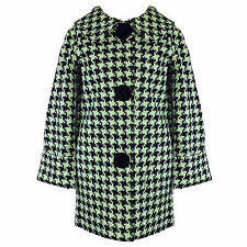 Hell Bunny Mod Hipster Mint Houndstooth Vintage 60s Crombie Swagger Winter Coat