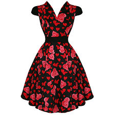 Hearts & Roses London New Red Floral Heart Vintage 50s Party Prom Swing Dress