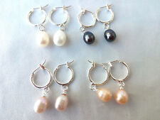 variations color  freshwater pearl dangle earring  silver ring hook