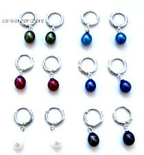 variations color  freshwater pearl dangle earring  dull silver ring hook