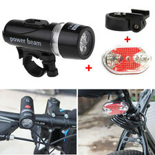 5 LED Lamp Waterproof Bike Bicycle Front Head Light + Rear Safety Flashlight Set