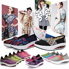 Casual Canvas Sneaker Women Breathable Sports Platform Slip-on Shoes Wedge Heel