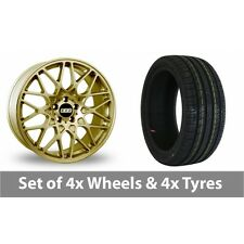 "4 x 19"" BBS RX-R Gold Alloy Wheel Rims and Tyres -  225/40/19"