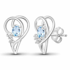 Jewelonfire Sterling Silver 3/5ct TGW Sky Blue Topaz and Diamond Accent Earrings