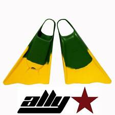New Ally Floating Swim/Bodyboarding Fins/Size Medium/Green/Yellow