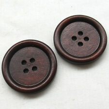 50/250pcs 30mm Big Brown Wood Wooden Button 4 Holes Craft Clothe Sewing T0906