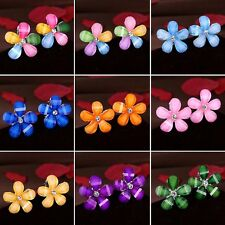 Women Girl Colorful Flower Crystal Rhinestone Stud Earrings Wedding Jewelry+ Box