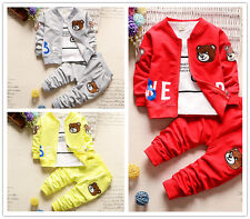 3PCS Toddler Infant Baby Boy Outfit Coat+ T-shirt+ Pants Little Bear Clothes set