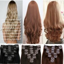 Real Thick Clip In Hair Extensions 8pcs Long Full Head Straight Wavy Hair pt030