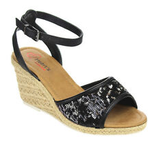 I HEART COLLECTION JULIA-02 Women's Espadrilles Sequins Ankle Strap Wedge Sandal