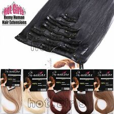 TOP 7pcs USPS Real Remy 100% Human Hair Extensions Clip In Full Head STYLE HQ169