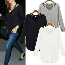 Women's Fashion Loose Cotton V-Neck Tops Long Sleeved T-Shirt Casual Blouse