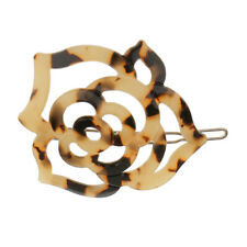 Leopard Print Women Geometric Round Circle Moon Hair Clip Hair Accessories