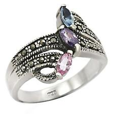 Sterling Silver Deco Cocktail Ring Marcasite Cubic Zirconia Size 7 8 9 10 USA