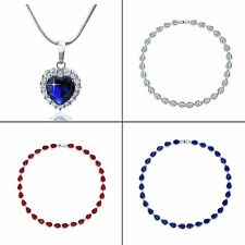18k white gold filled Heart cut Blue&White Sapphire Wedding Necklace chain 18""