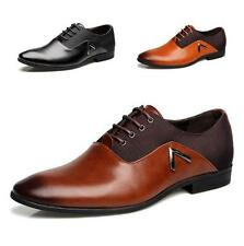 Men Business Dress Formal Leather Flat Oxfords Loafers Lace up pointy toe Shoes
